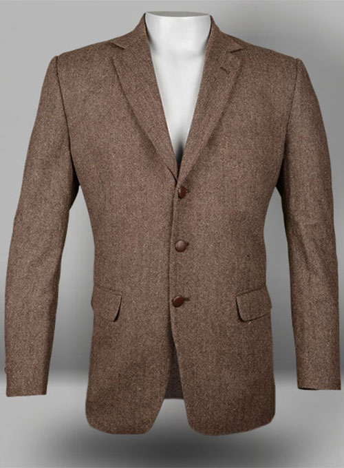 Vintage Dark Brown Herringbone Tweed Jacket