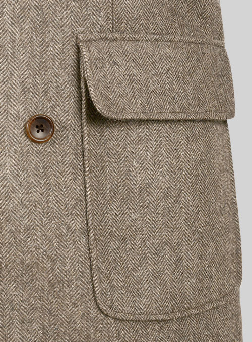 Musto Vintage Herringbone Dark Brown Tweed Overcoat - Click Image to Close