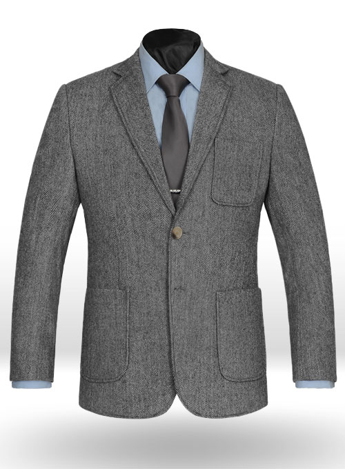 vintage herringbone gray tweed patch pocket jacket