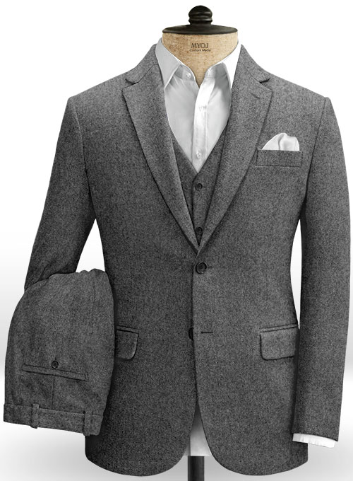 Vintage Plain Dark Gray Tweed Suit