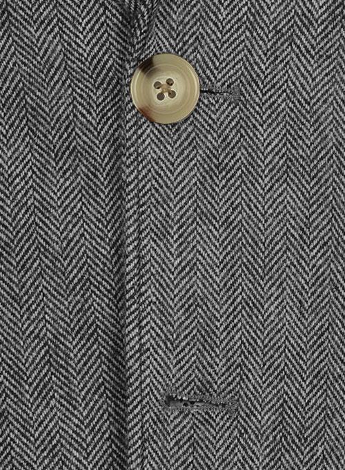 Vintage Herringbone Gray Tweed Patch Pocket Jacket