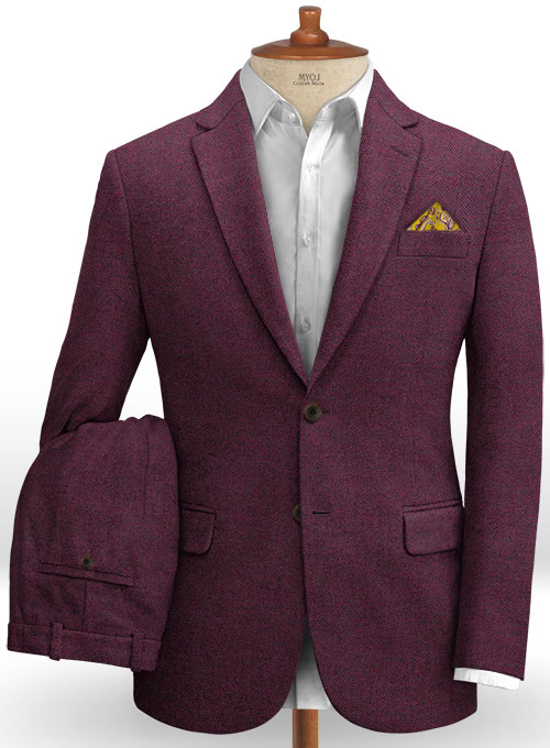 Wine Herringbone Tweed Suit