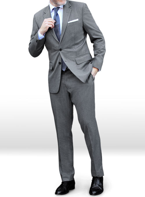 Worsted Mid Charcoal Wool Suit