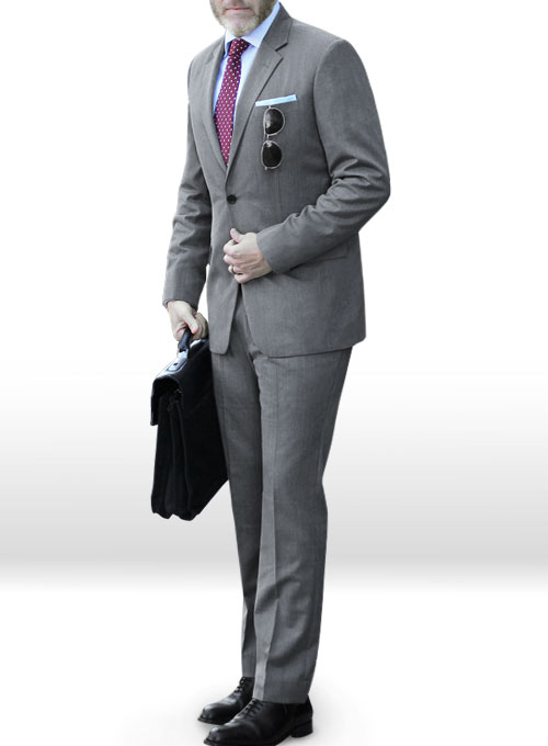 Worsted Mid Charcoal Wool Suit - Click Image to Close