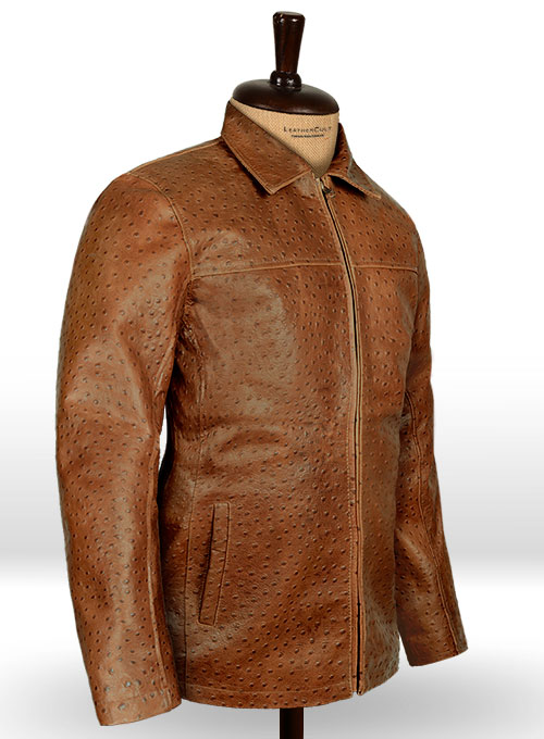 Brown Ostrich Leather Hipster Jacket #2