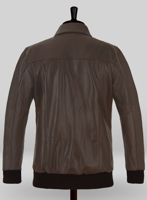 Brown Steve Carell Welcome to Marwen Bomber Leather Jacket