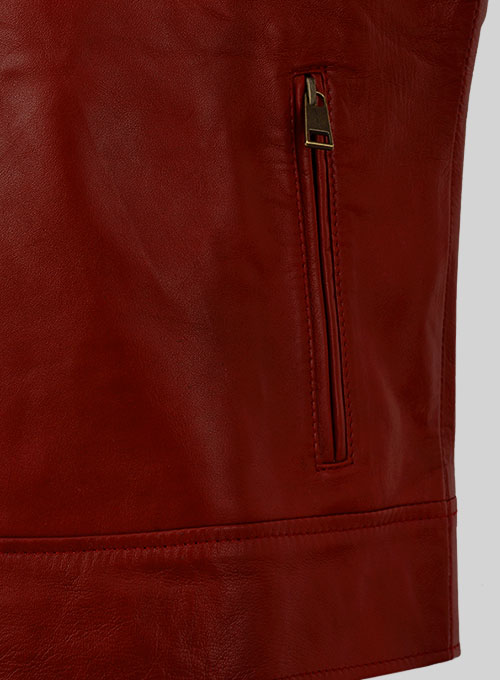 Cherry Red Akon Leather Jacket