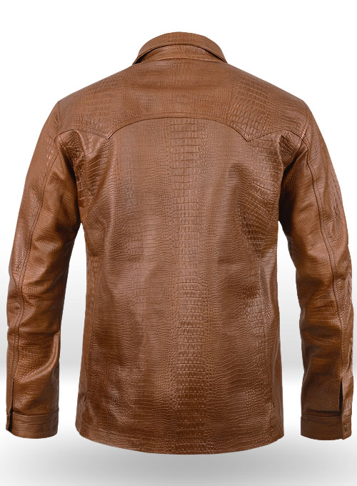 Crocodile Brown V Tab Leather Shirt Jacket