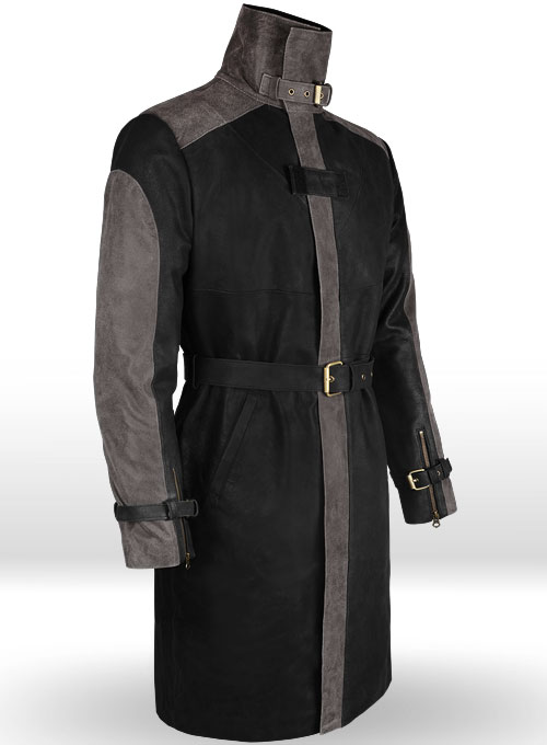 Distressed Black Aiden Pearce Watch Dog Leather Trench Coat