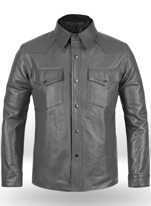 Gray Leather Shirt Jacket - #1S