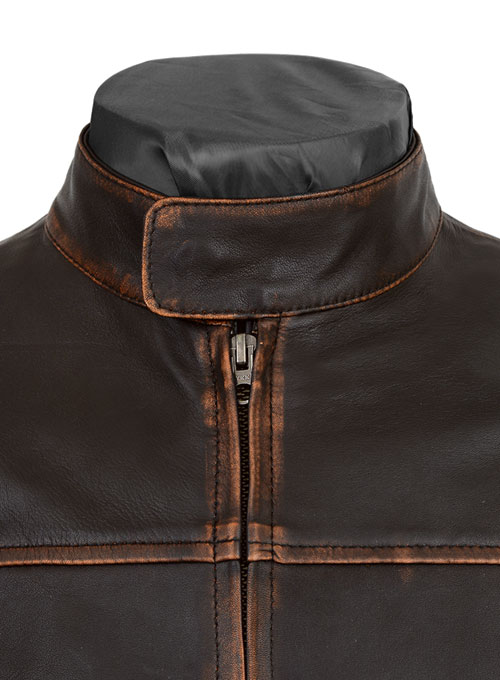 Reggie Rubbed Dark Brown Leather Jacket