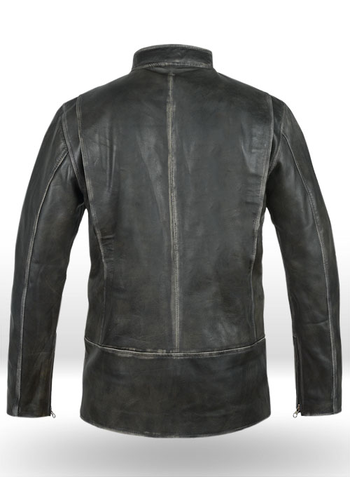 Rubbed Charcoal Mark Wahlberg Daddys Home Leather Jacket