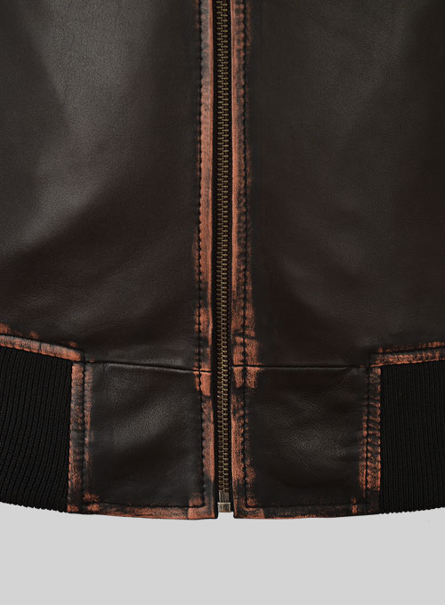 Rubbed Dark Brown Lionel Messi Leather Jacket #1