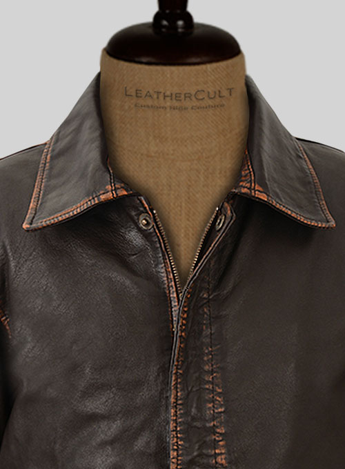 Rubbed Dark Brown Washed Indiana Jones Leather Jacket