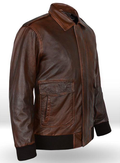 Rubbed Tan Washed Sylvester Paradise Alley Leather Jacket