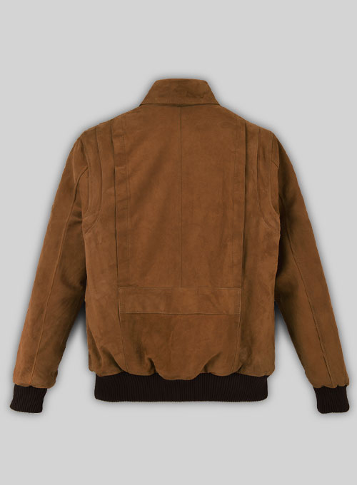Soft Caramel Brown Suede Hunter Bomber Leather Jacket