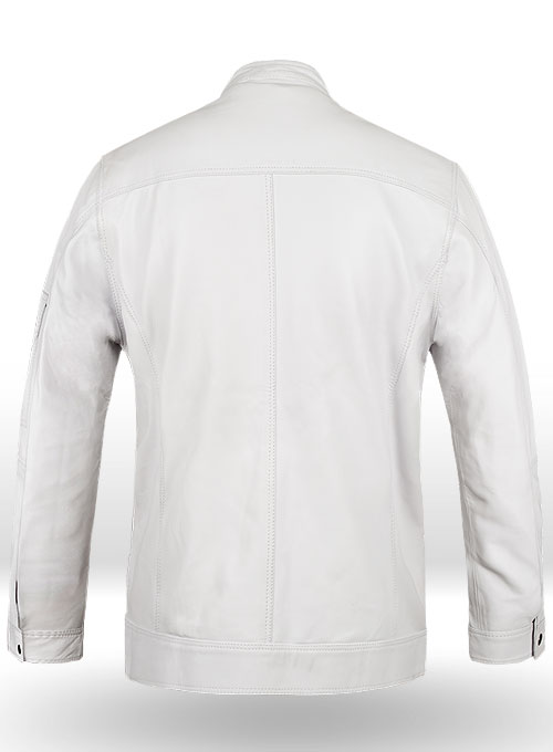 White Leather Jacket # 658