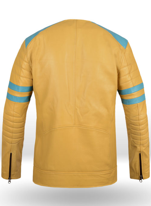 Yellow Leather Fighter T-Shirt Jacket