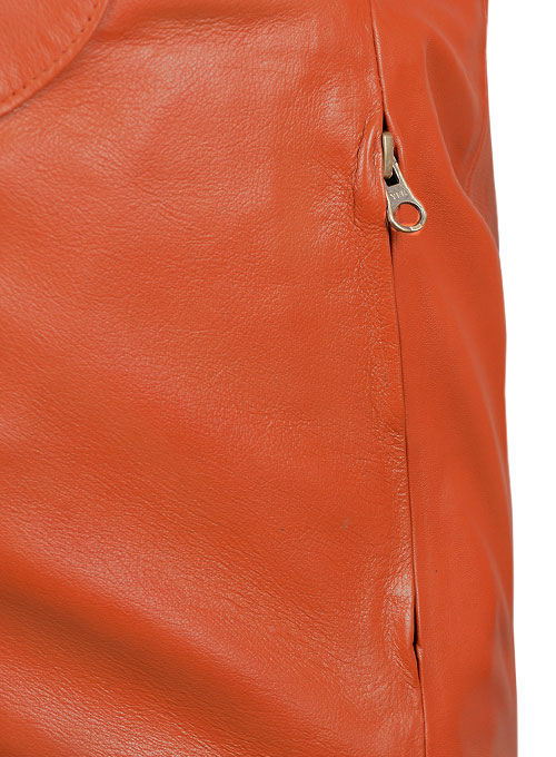 Bright Orange Leather Jacket #706