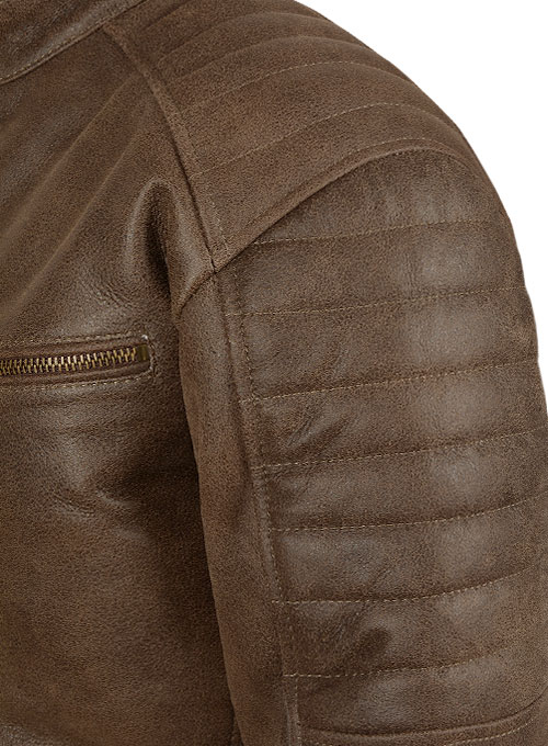 Vintage Gravel Brown Leather Jacket # 657