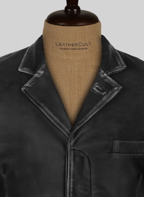 Rubbed Black Will Smith Leather Blazer