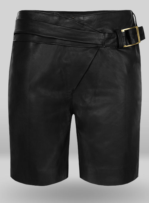 Soft Rich Black Leather Cargo Shorts Style # 377